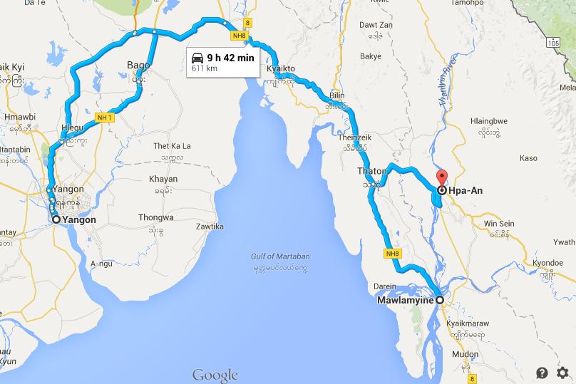 MAP - Myanmar cycling