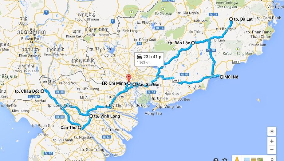Map -Biking Adventures In Mekong & Centre Highland – 10 Days