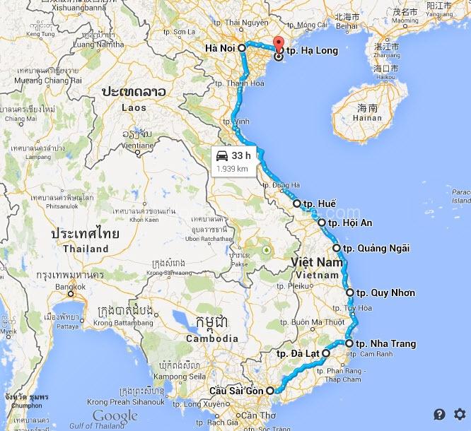 Map - Saigon Cycle to Ha Long Bay