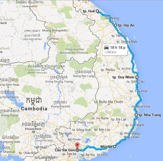 Map - Hue Cycle to Saigon
