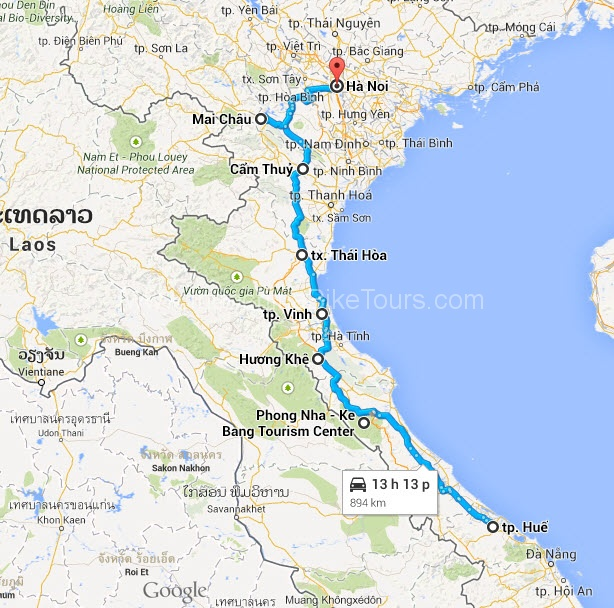 Map - Hue Cycle To Hanoi