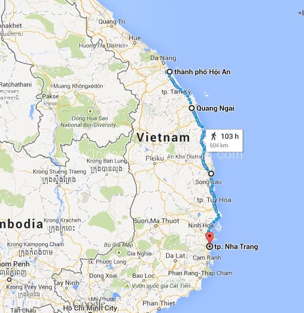 Map - Hoi An Cycle To Nha Trang