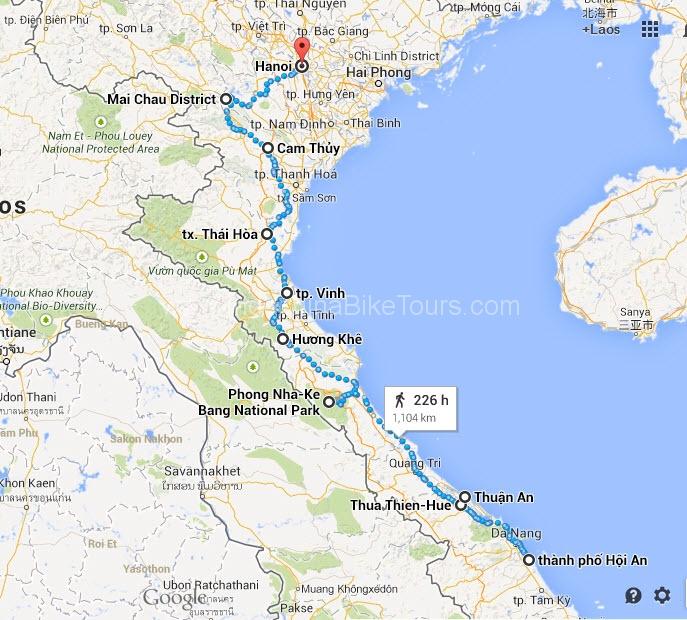 Map - Hoi An to Hanoi