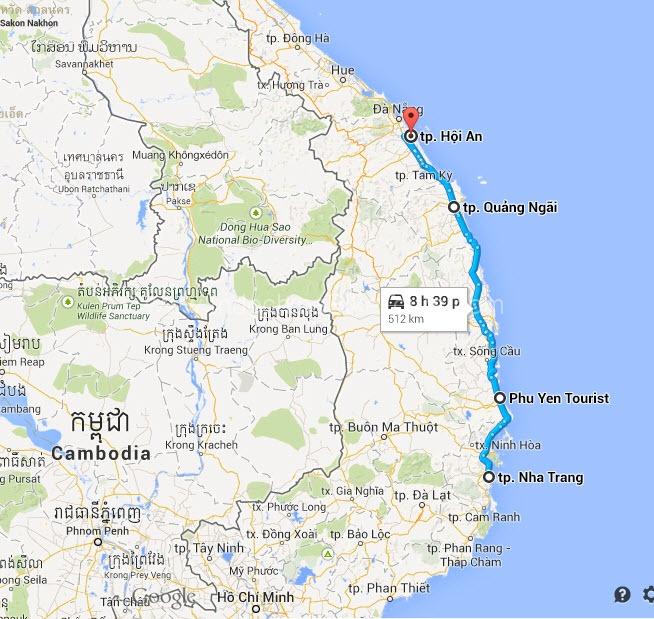 Map - Nha Trang Bike To Hoi An