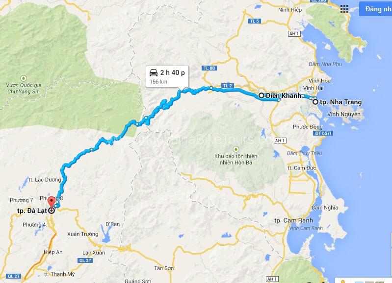 Map - Nha Trang cycle to Da Lat